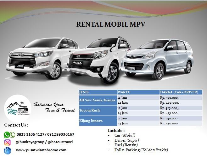 Rental Mobil MPV (Avanza/Xenia, Rush, Innova) Pasuruan Malang dan Surabaya