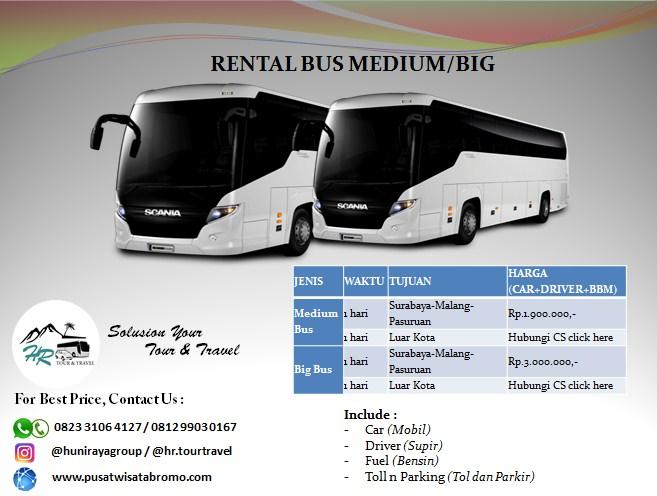 Rental Bus Pasuruan Malang dan Surabaya Murah Terbaik